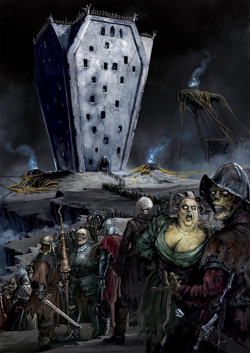 Aces Games - Unglorious GdR, ambientazione del mondo dei morti, fila alla frontiera per l'emersione