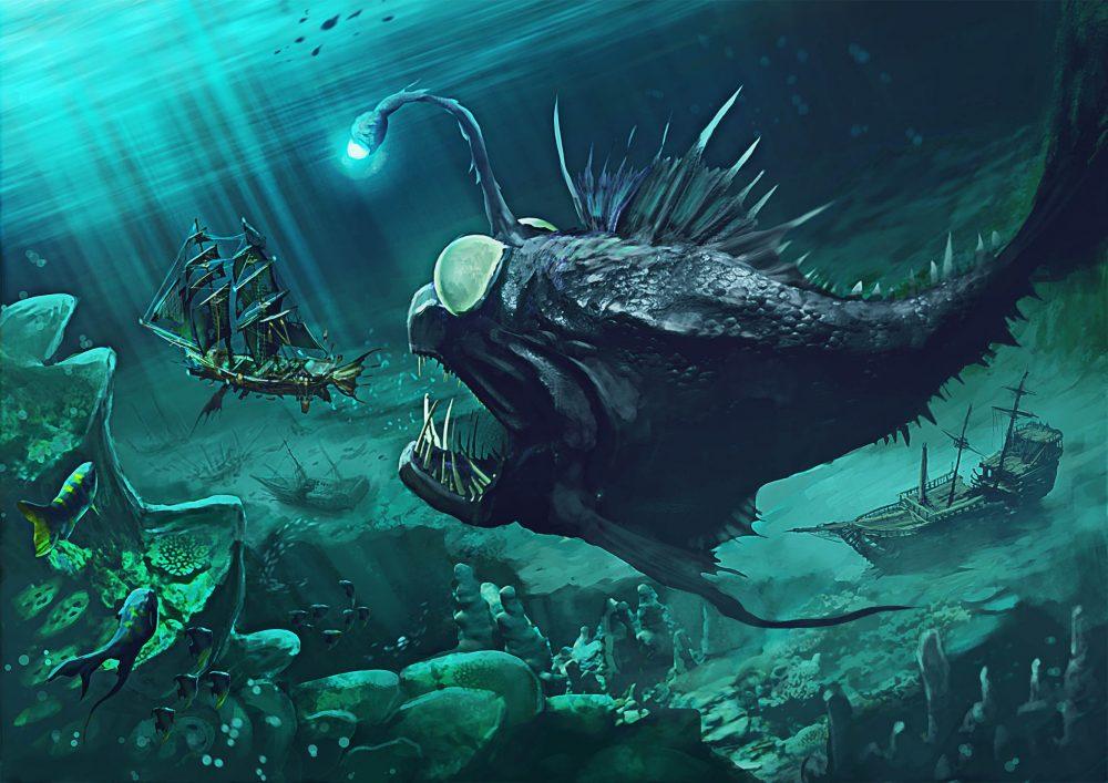 Aces Games - Unglorious GdR necro-fantasy, mostro marino profilo bestiario per Sea of Bones
