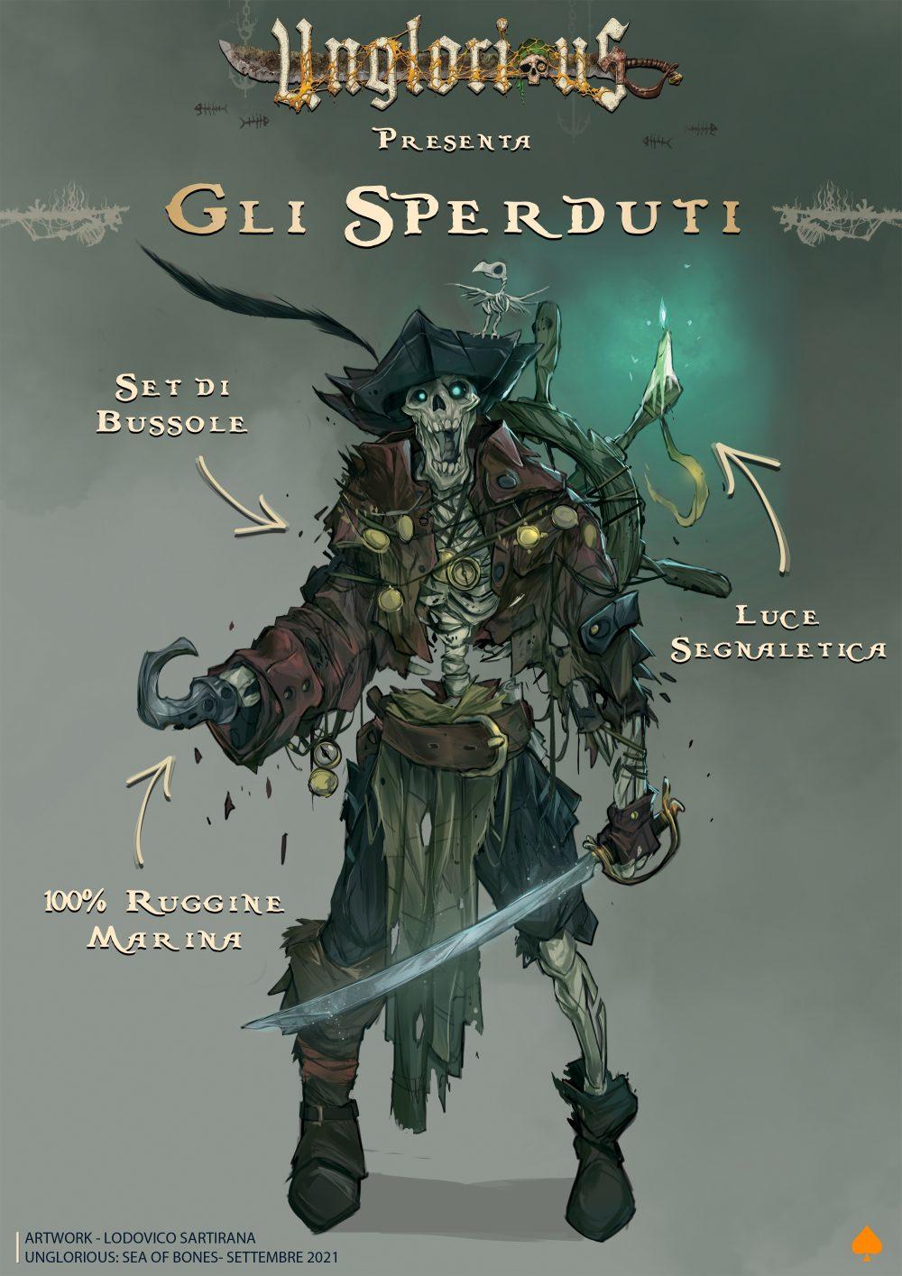 Aces Games - Unglorious GdR necro-fantasy, profilo di bestiario, pirati sperduti per Sea of Bones